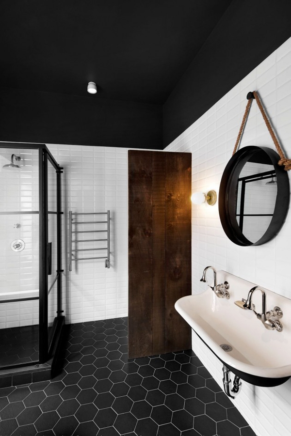 black ceiling bathroom