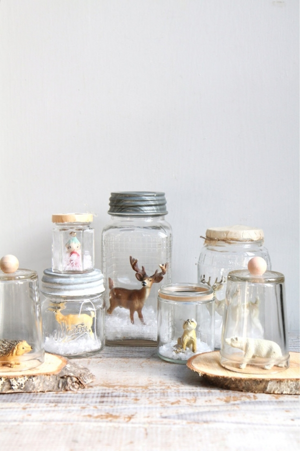 christmas decorations in jar