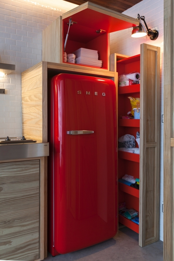 smeg red fridge