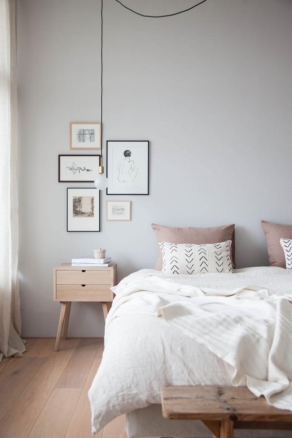 grey walls in bedroom