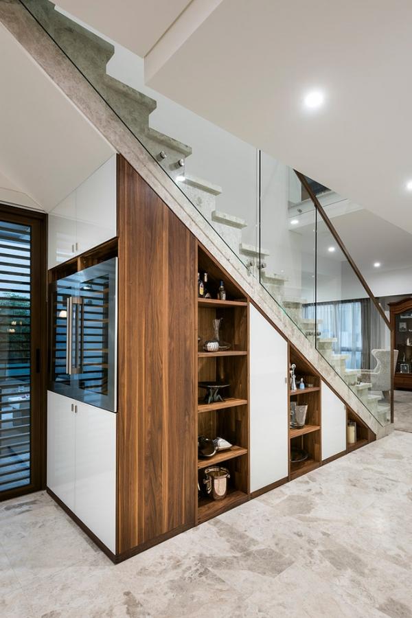 cabinets under stairs modern