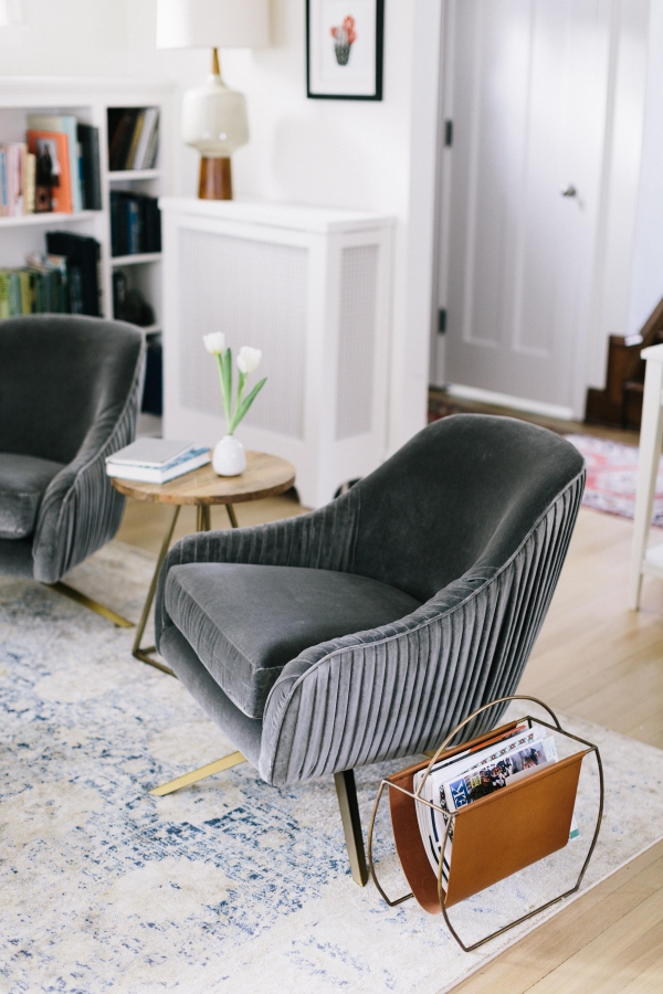 grey velvet armchair