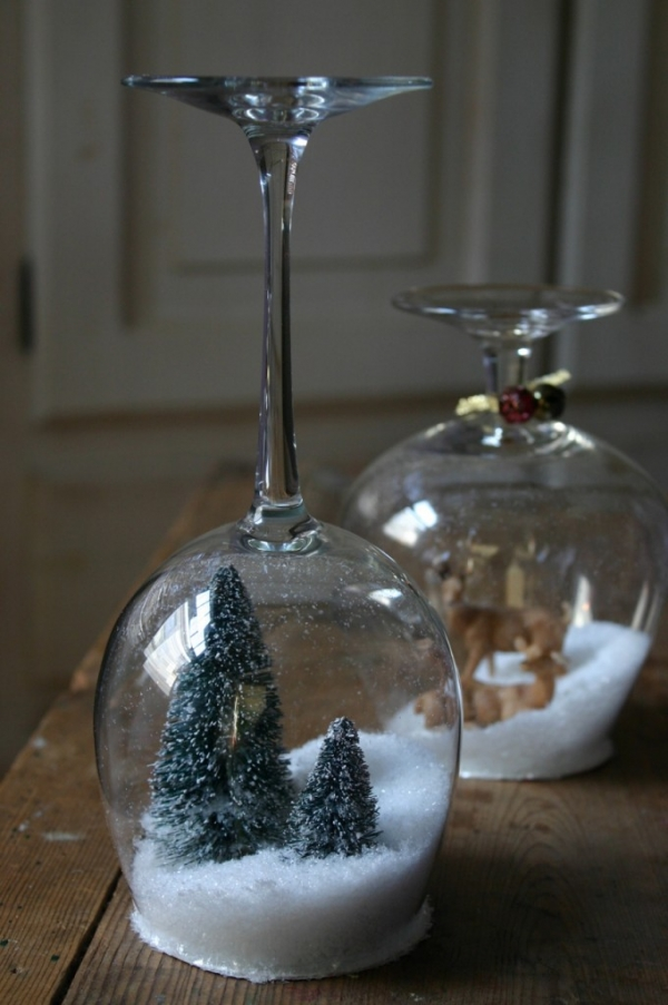 christmas decoration in wine glass