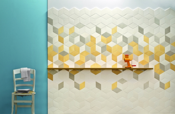 yellow grey white tiles