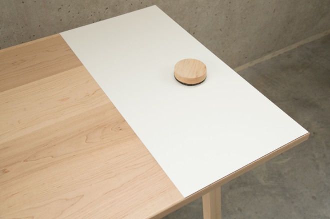 writing surface on the table