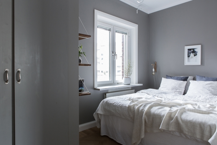 grey wall in bedroom