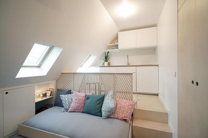 bed under platform