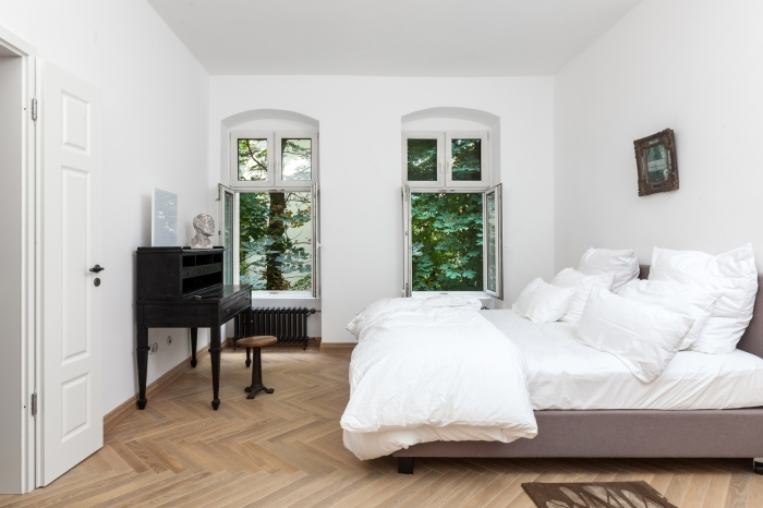 herringbone floor bedroom