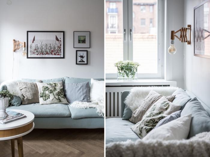 skandinavisko stiliaus sofa