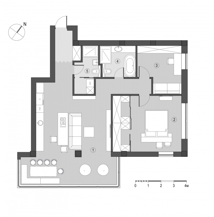 100 sq.m apartment layout
