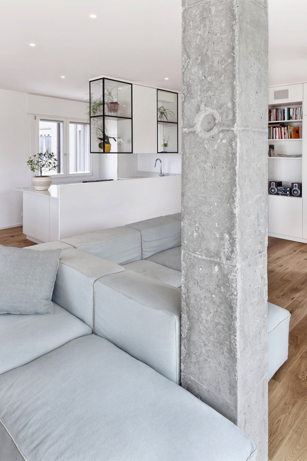 concrete column in living room