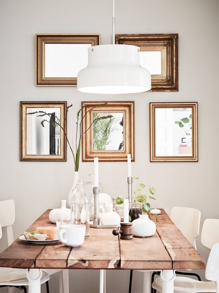 mirrors above the table