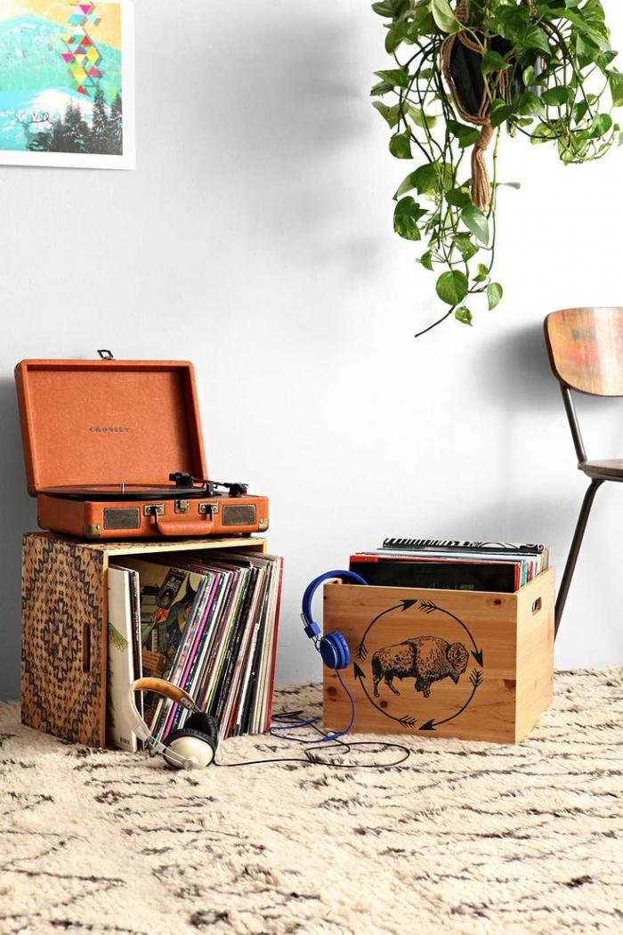 vinyl records box
