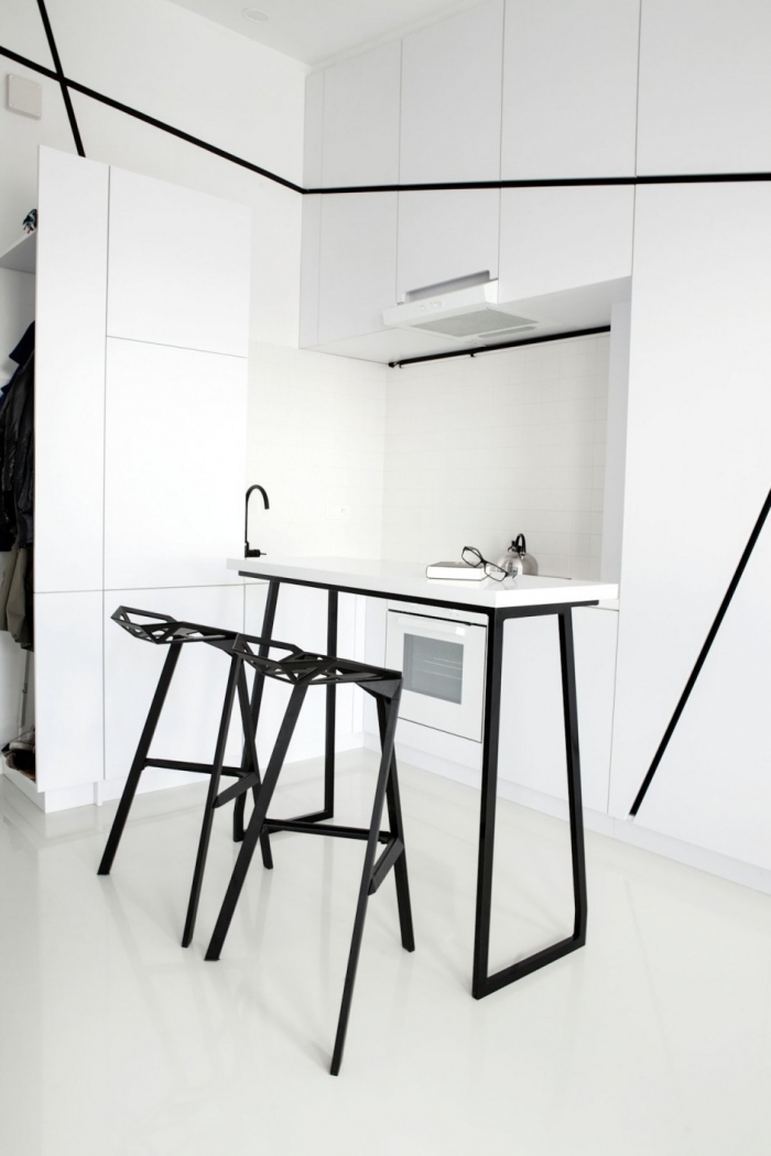 white black kitchen