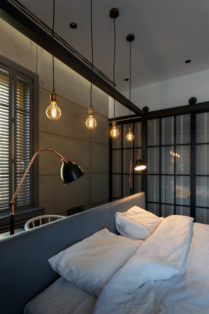 lamps over the bed