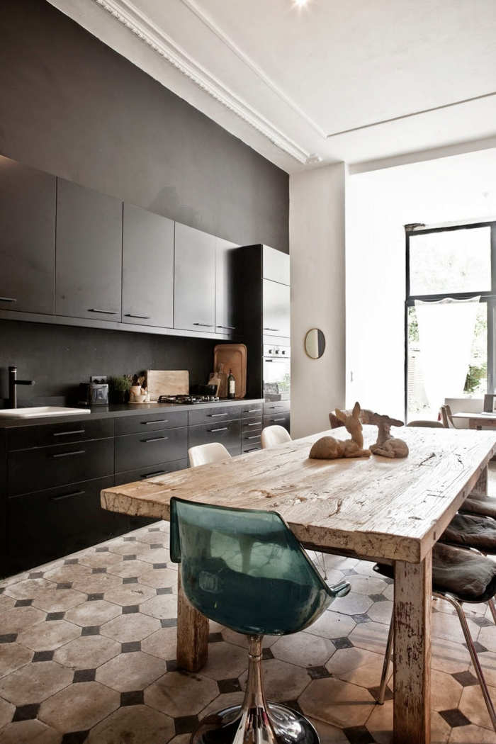 rustic table modern kitchen