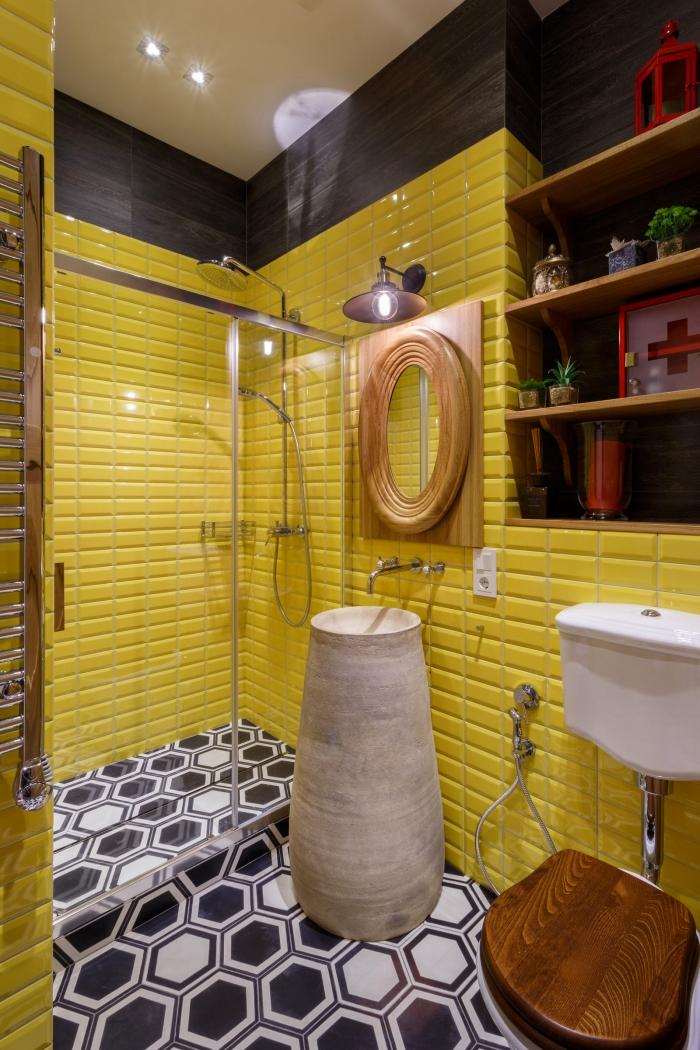 yellow tiles in bathroom