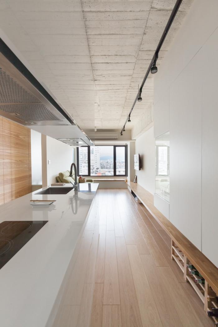 kitchen next to corridor