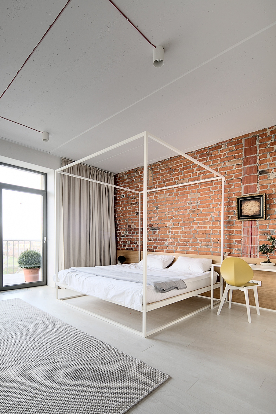 red bricks in bedroom