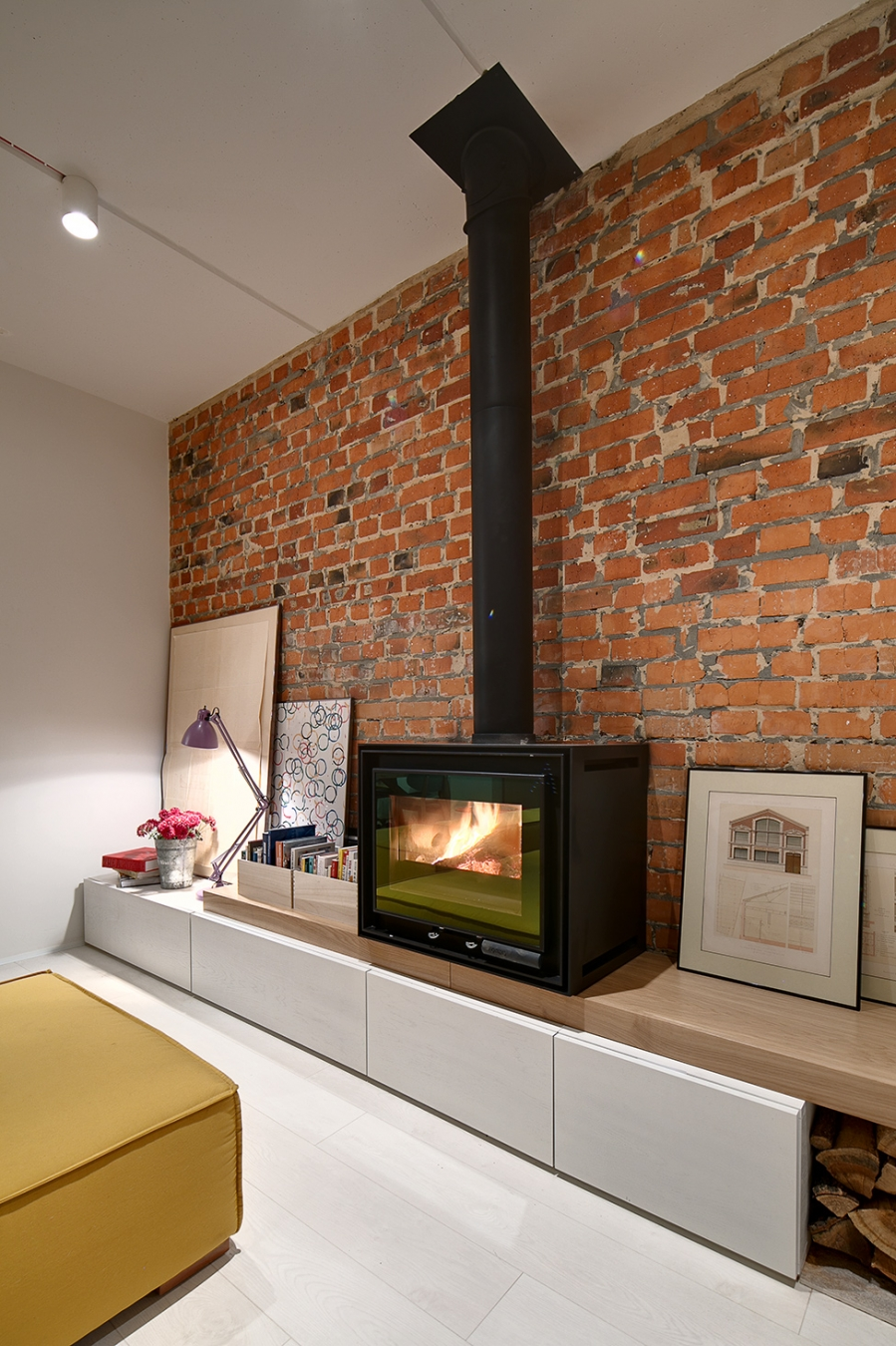 fireplace on cabinets