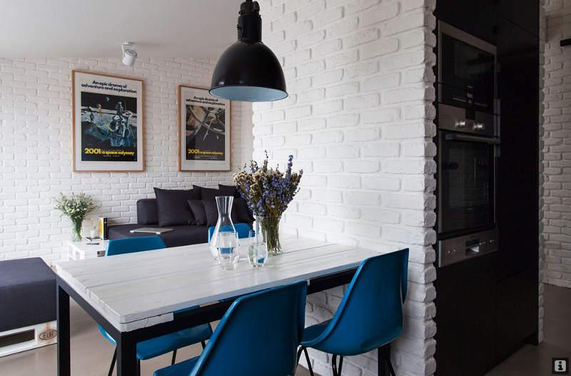 Декоративный белый камень в интерьере кухни фото